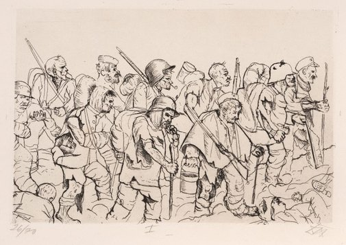 An image of Battle weary troops retreating – Battle of the Somme by Otto Dix