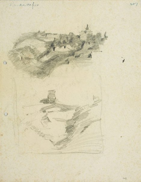 An image of recto: Hillside with houses & building with spire and Composition sketch of Hillside with tower verso: Landscape by Lloyd Rees