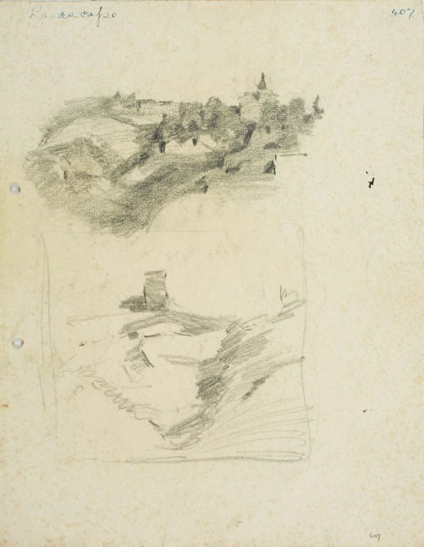 An image of recto: Hillside with houses & building with spire and Composition sketch of Hillside with tower verso: Landscape