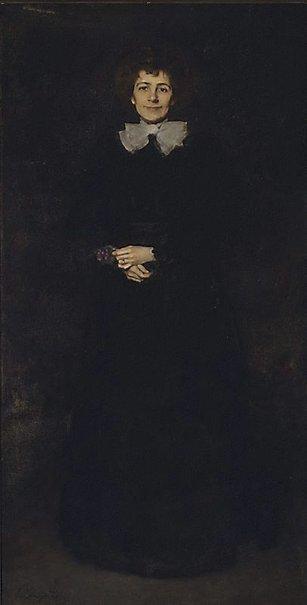 An image of Lady in black by John Longstaff