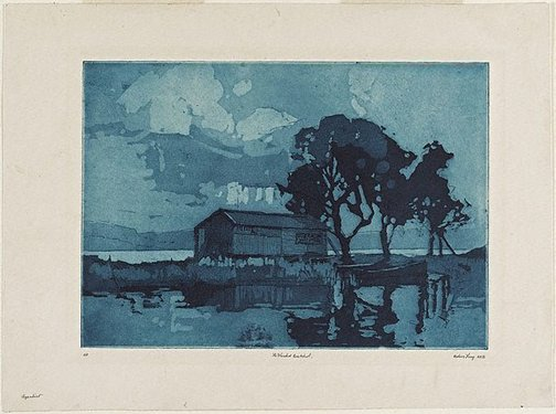 An image of The flooded boatshed by Sydney Long