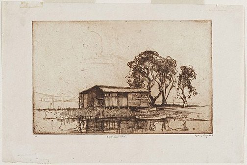 An image of Boyd's boatshed by Sydney Long