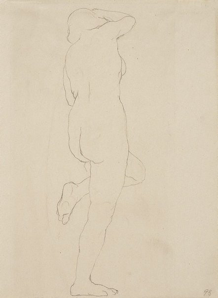 An image of Standing female nude, left leg raised by Rupert Bunny