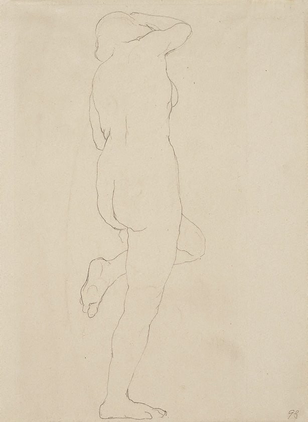 An image of Standing female nude, left leg raised