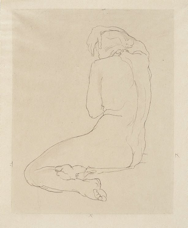 An image of Seated female nude, arm over head