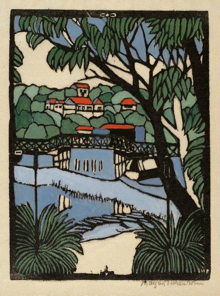 An image of Mosman Bridge by Margaret Preston