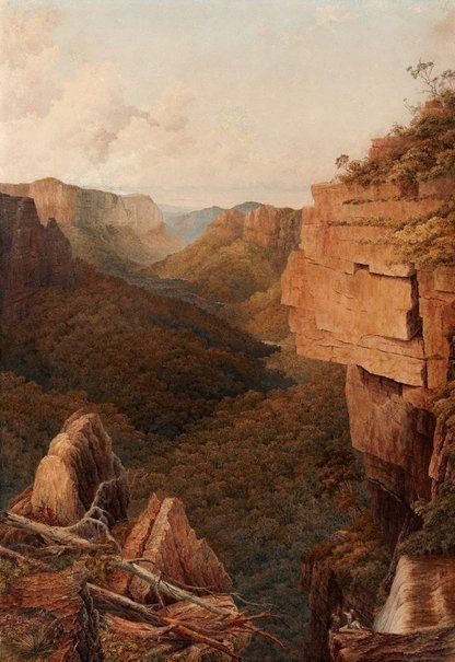 An image of Govett's Gorge, looking towards the valley of the Grose, New South Wales by Charles Edward Hern