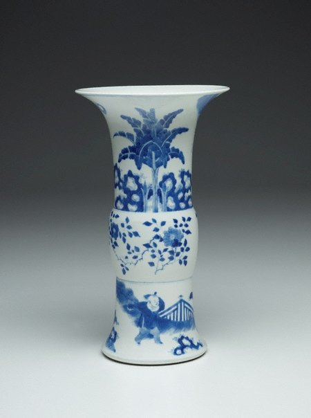 An image of Vase with floral and figure decoration by