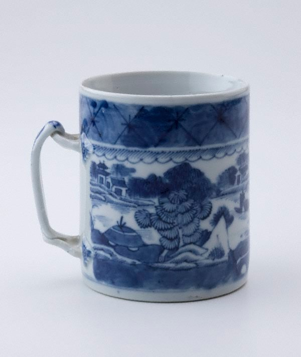 An image of Mug with scene of lake and pagodas