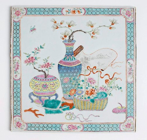 An image of Tile decorated with flowers of the four seasons, and emblems of the scholar by