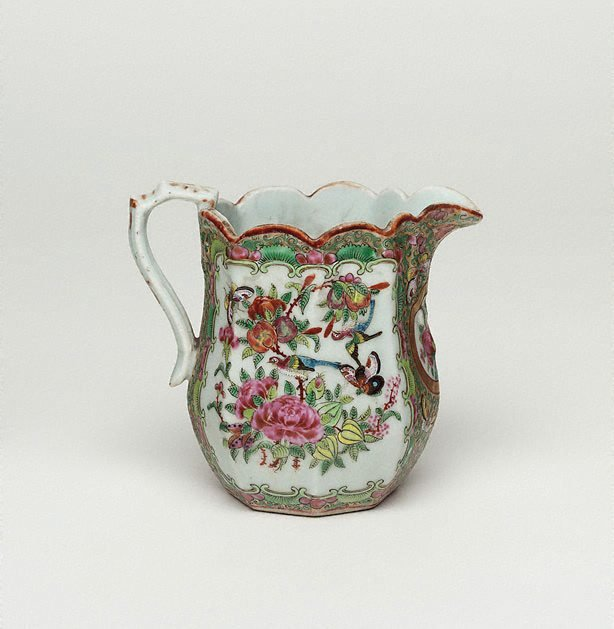 An image of Jug decorated with narrative scene, and with birds and flowers