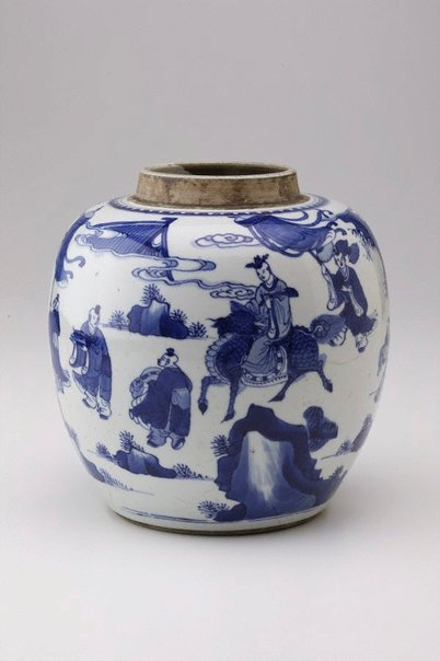 An image of Ginger jar decorated with figures and Kylin by