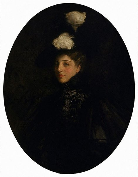 An image of The lady with the white feathers by Sir John Lavery