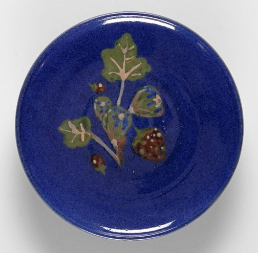 An image of Plate with strawberry and leaf design by Gladys Reynell