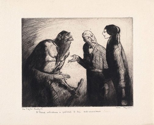 An image of Our psychoanalysts - Dr Freud introduces a patient to her subconscious by Will Dyson