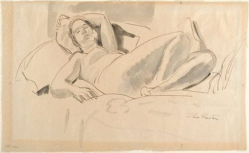 An image of Reclining nude (Dora) by Thea Proctor