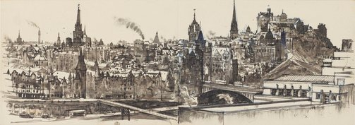 An image of Edinburgh from above St Andrew's House by John D. Moore