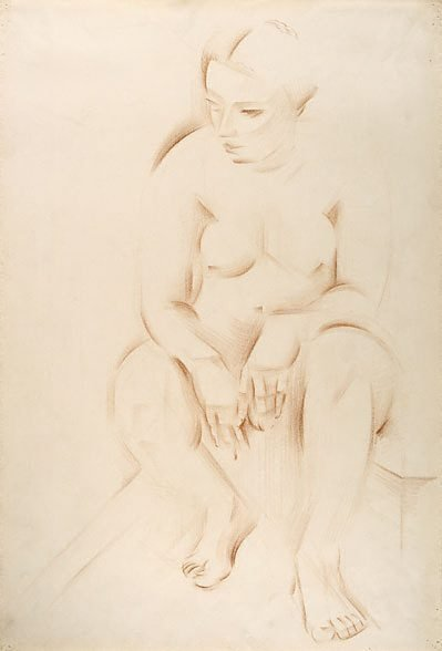 An image of Life study: seated female nude