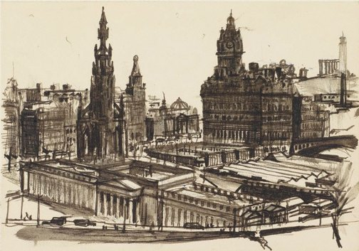 An image of Edinburgh from the castle ramparts by John D. Moore