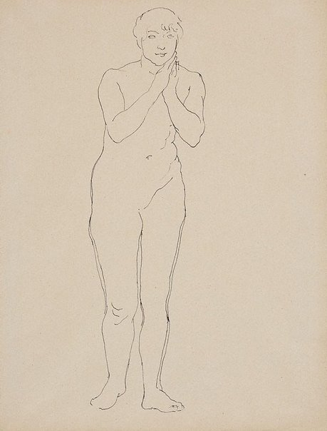 An image of Female nude, standing, hands clasped at chin by Rupert Bunny