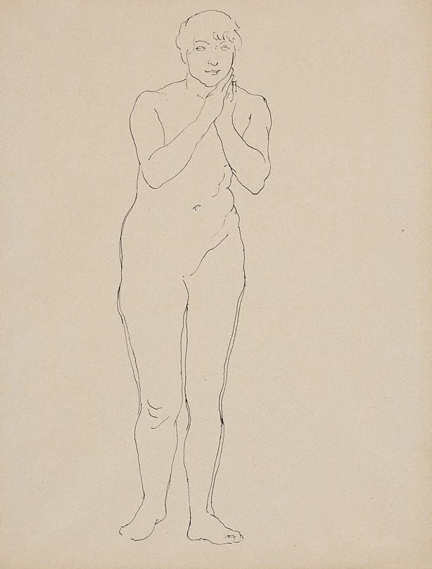 An image of Female nude, standing, hands clasped at chin