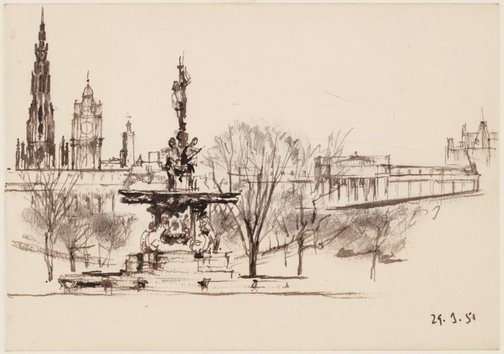 An image of The Ross fountain, Princes Street Gardens, Edinburgh by John D. Moore