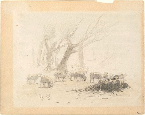 An image of Sheep grazing and trees, Heidelberg by Walter Withers