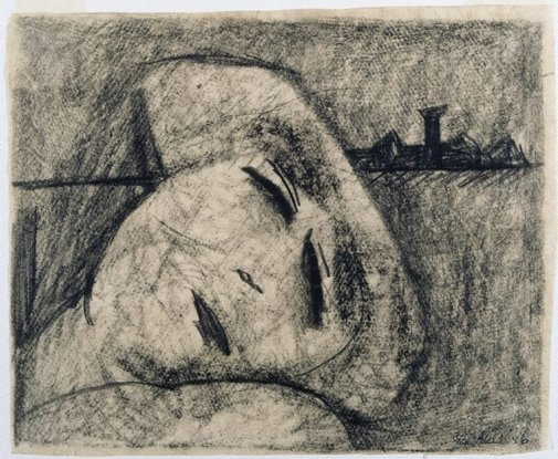 An image of Woman lying down by Charles Blackman