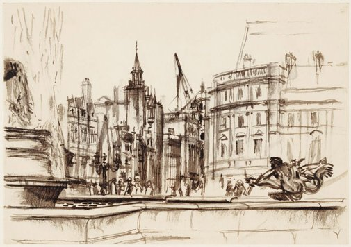 An image of Trafalgar Square, looking towards Whitehall by John D. Moore