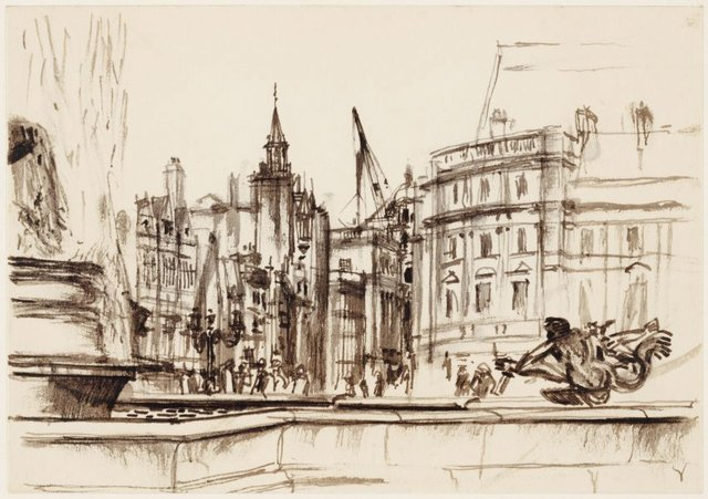 An image of Trafalgar Square, looking towards Whitehall