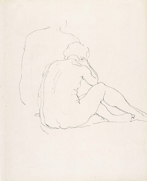 An image of Female nude, seated on floor, back view by Rupert Bunny