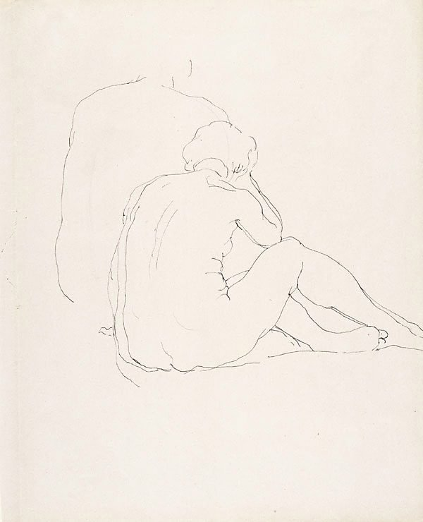 An image of Female nude, seated on floor, back view