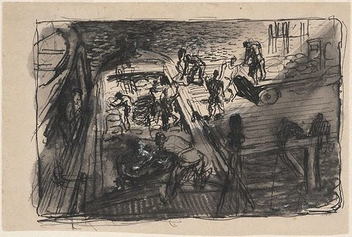 An image of Study for 'Emergency loading at night' by William Dobell