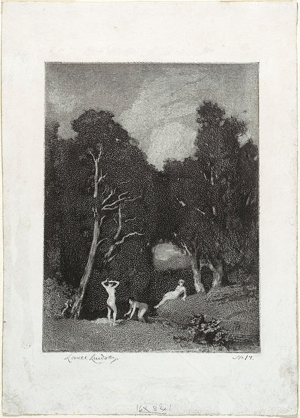 An image of Bathers (three nudes bathing under trees)