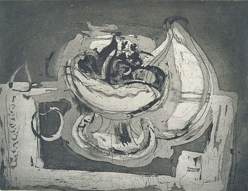 An image of Bowl and fruit by Mary Macqueen