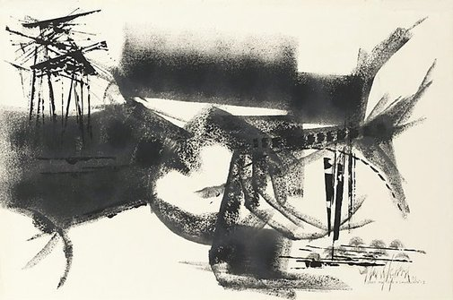 An image of Study for 'Into a landscape' II, Ooldea by Thomas Gleghorn
