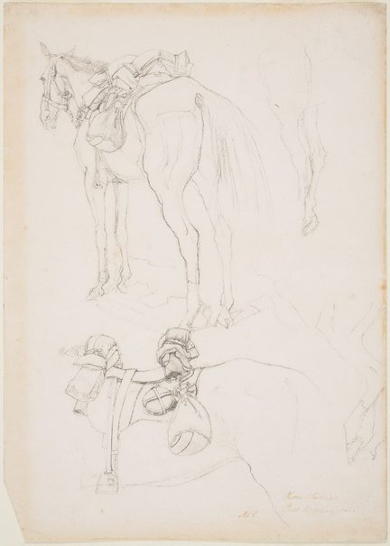 An image of Horse studies, full marching order by George W Lambert