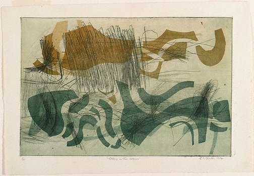 An image of Etching in two colours by Earle Backen