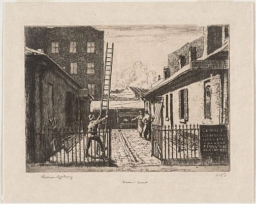 An image of Queen's Court by Lionel Lindsay
