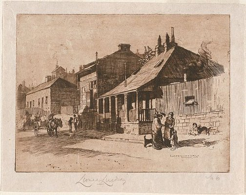 An image of Non-com's quarters, Kent Street by Lionel Lindsay