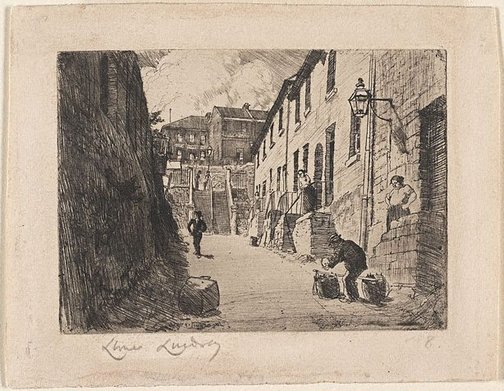 An image of Old Essex Street from George Street, Sydney by Lionel Lindsay