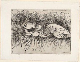 AGNSW collection Arthur Boyd Nude in a cornfield (1962) DA43.1963