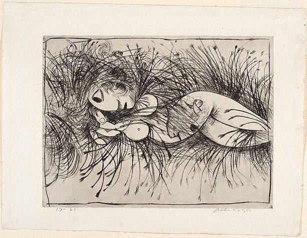 Nude in a cornfield, (1962) by Arthur Boyd