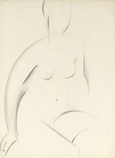 An image of recto: Seated female figure verso: (slight drawing of leg?)