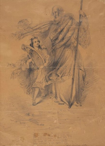 An image of The last minstrel with the orphan boy by Adelaide Ironside