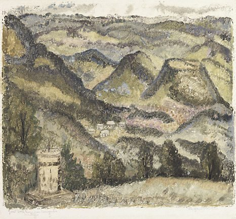 An image of Great Dividing Range from Toowoomba, Queensland by Margaret Preston