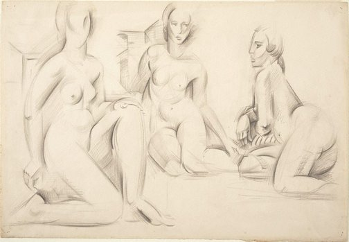 An image of Figure group - three seated females by Rah Fizelle