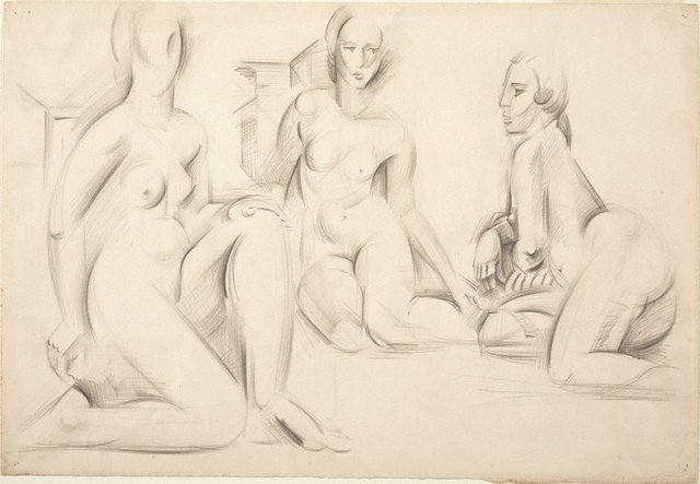 An image of Figure group - three seated females