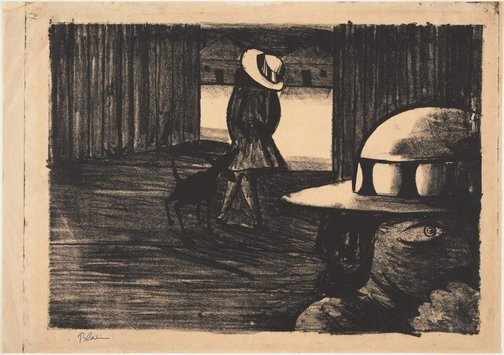 An image of Schoolgirls with a dog by Charles Blackman