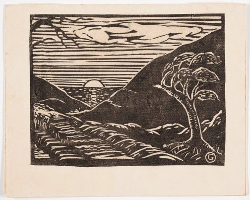An image of Coast landscape with sunset by Gladys Reynell